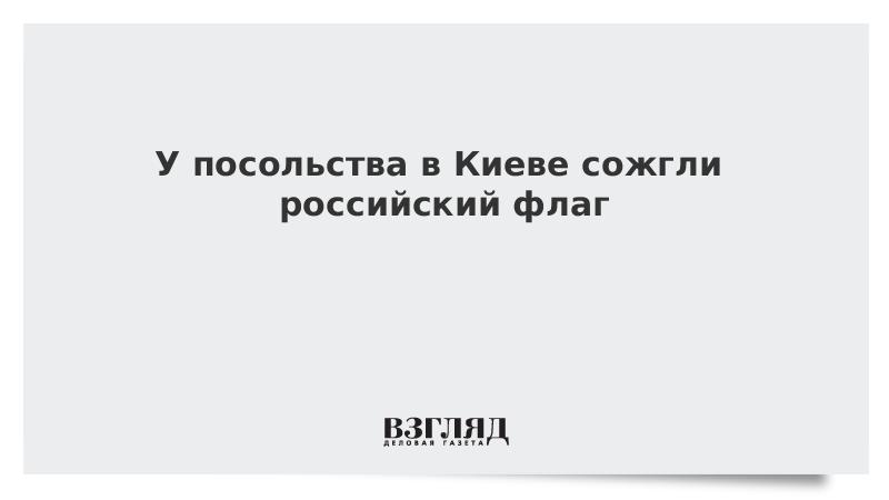 У посольства в Киеве сожгли российский флаг