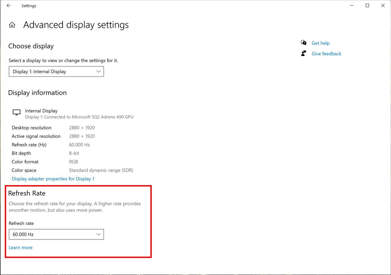 В сборке Windows 10 Insider Preview 20236 можно настроить частоту экрана